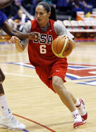 Seattle Storm and U.S. Olympic star Sue Bird drives the ball during the U.S. women's basketball practice in 2009.