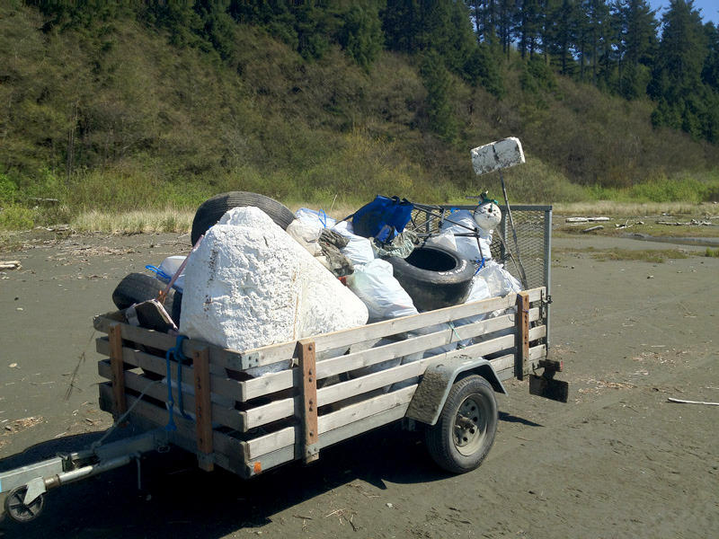 One of many trailer loads of garbage taken off of the beach at Point Grenville. While some Japanese tsunami debris is showing up, nearly all of the refuse found on beaches currently is from the U.S.