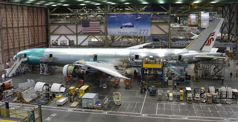 In this June 2, 2011 photo, the Boeing Co. 777 airplane assembly line is shown, in Everett, Wash.