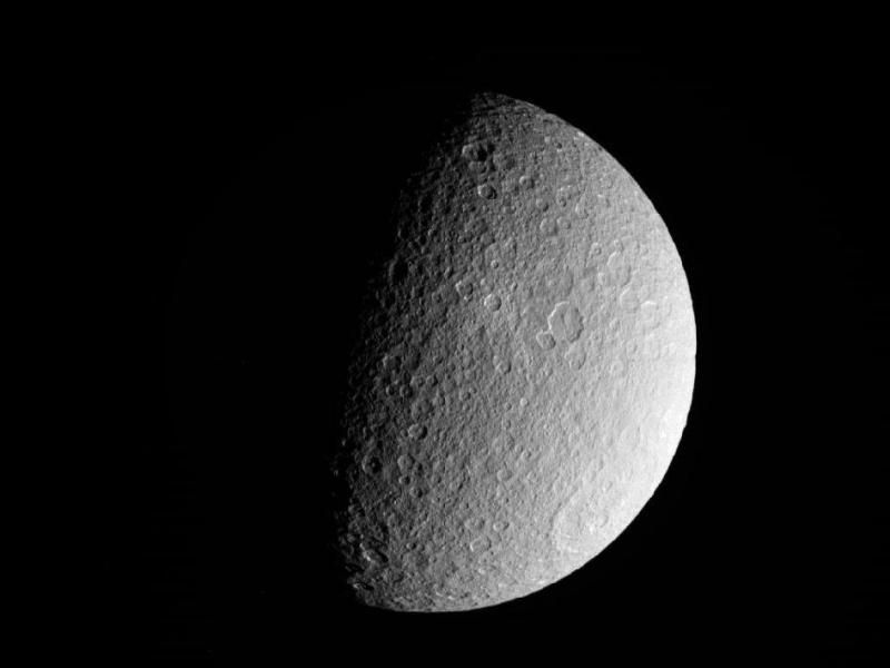 NASA's Cassini spacecraft took this raw, unprocessed image of Saturn's moon Rhea on March 10, 2012. The camera was pointing toward Rhea at approximately 26,019 miles (41,873 kilometers) away.