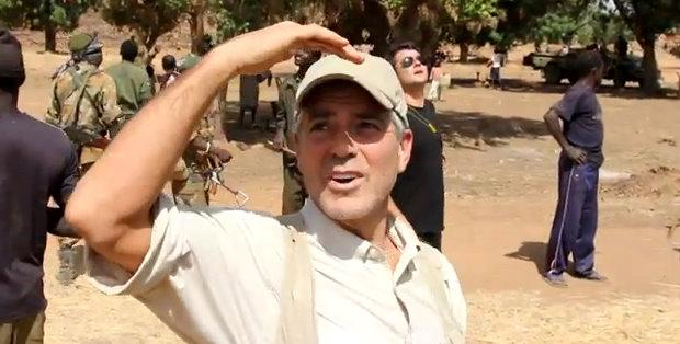 Actor George Clooney spies a missile flying overhead in Sudan in this screen grab from a video he made while in the embattled territory.