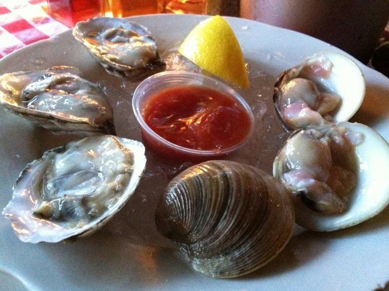 Raw clams on the half-shell.  Honest -- they're great like that.