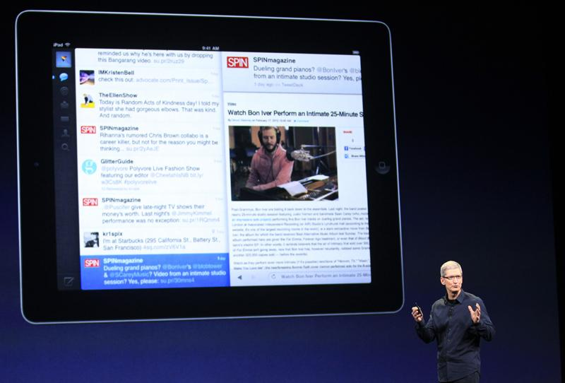 Apple CEO Tim Cook introduces the new iPad during an event in San Francisco, today. The new iPad features a sharper screen and a faster processor. Apple says the new display will be even sharper than the high-definition television set.