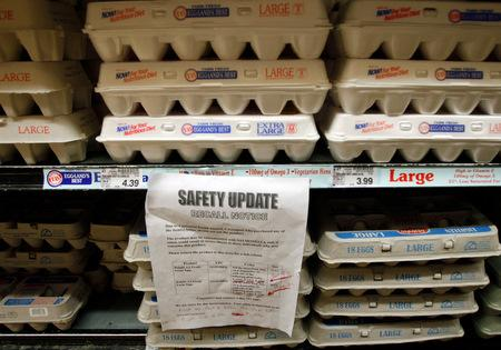 A sign warns customers of the recall of certain lots of eggs that had been previously sold at a supermarket in Los Angeles Thursday, Aug. 19, 2010.  A salmonella outbreak that sickened hundreds and led to the recall of hundreds of millions of eggs...