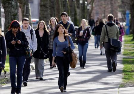 Students on the UW Campus