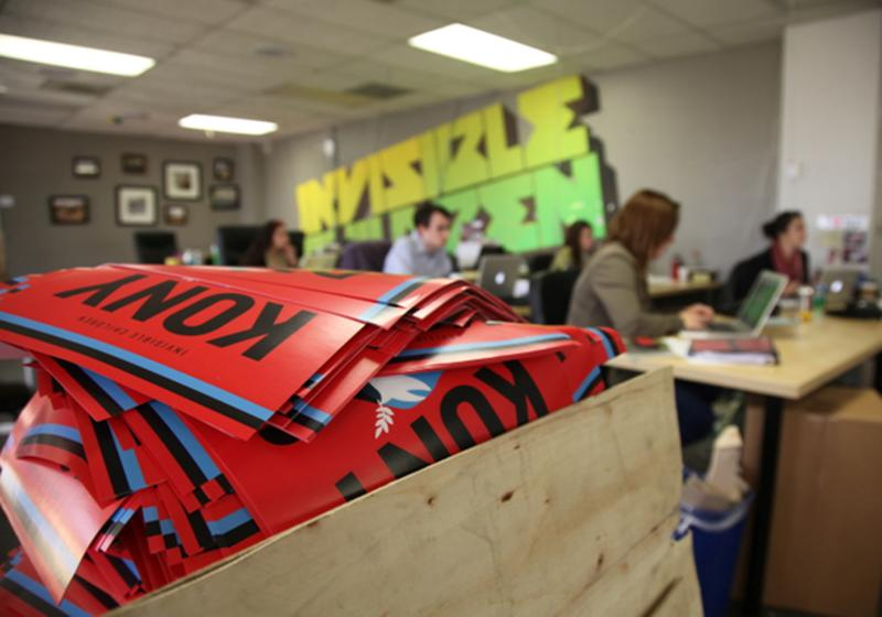 A box full to the brim with KONY 2012 campaign posters are shown Thursday March 8, 2012 at the Invisible Children Movement offices in San Diego.