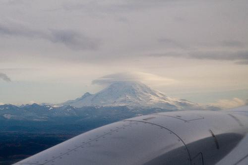 UFO, or just a lenticular cloud, on Mt Rainier?