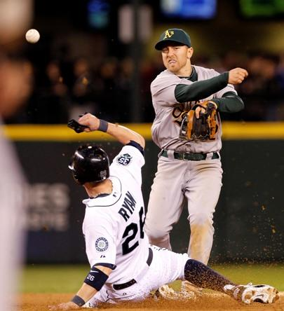 An 8th inning double play ends a potential rally in the Safeco Field home opener.