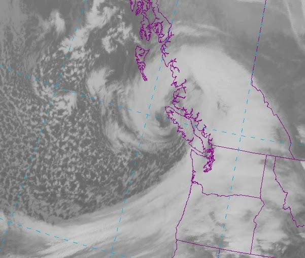 Here is the latest infrared satellite photo - simply impressive, said KPLU's weather expert Cliff Mass. You can see the swirling clouds around the low center, which is now crossing northern Vancouver Island.