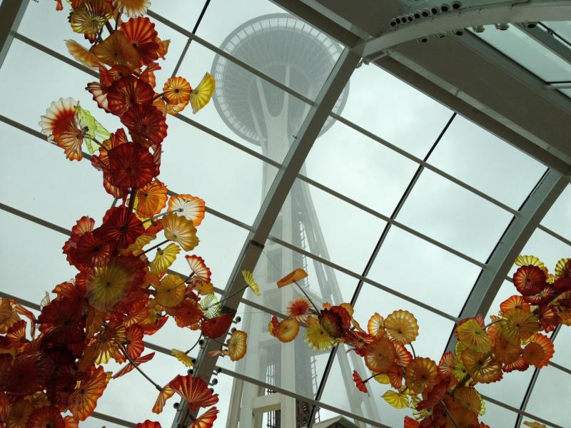 Dale Chihuly's new Glass House with Persian Glass framing the Seattle Space Needle.