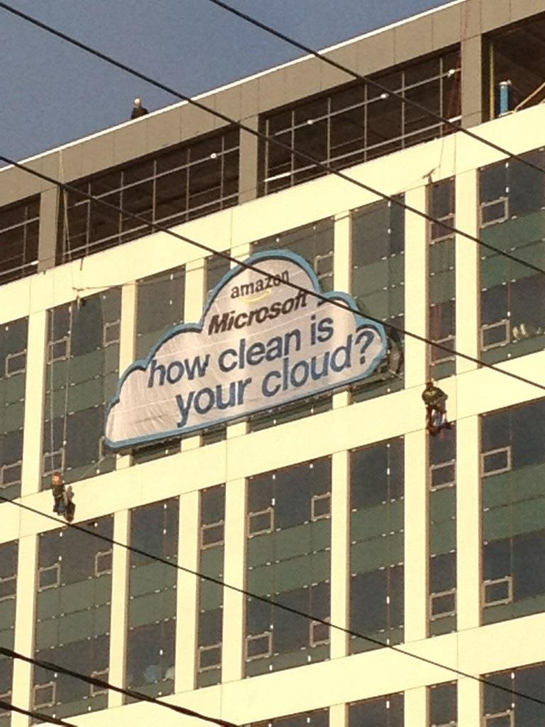 Greenpeace hung this sign on Amazon's new Seattle building this morning.