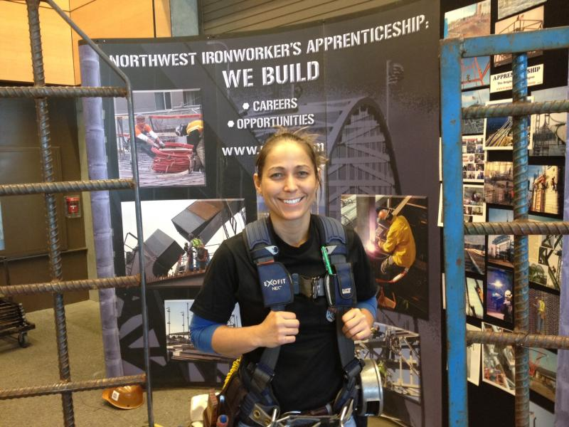 """""""They're actually paying you to come learn something,"""" says Rayna Lorraine, an ironworker apprentice who earns $36/hour plus benefits after 3 years of training.  A new apprentice can start at $25/ hour."""