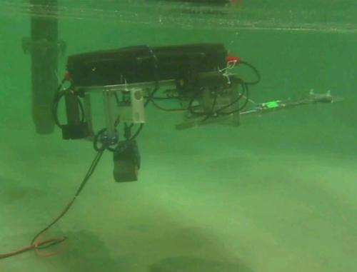 The robosub on a test run at the Albrook Hydraulics lab