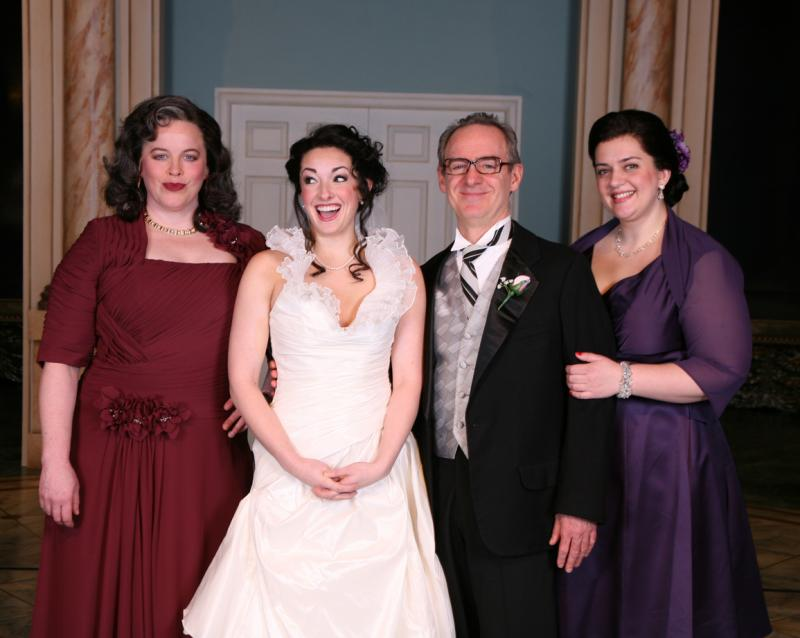 """It Shoulda Been You"" tells the story of a Catholic groom and a Jewish bride. Pictured here is the ""bride"" and her family: Leslie Law (Judy Steinberg), Mara Solar (Rebecca Steinberg), John Dewar (Murray Steinberg), Kat Ramsburg (Jenny Steinberg)"