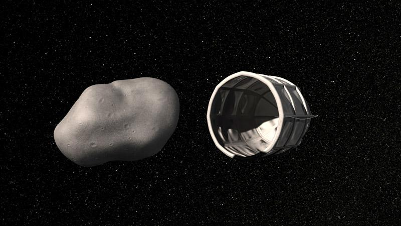 This computer-generated image provided by Planetary Resources, a group of high-tech tycoons that wants to mine nearby asteroids, shows a conceptual rendering of a spacecraft preparing to capture a water-rich, near-Earth asteroid.