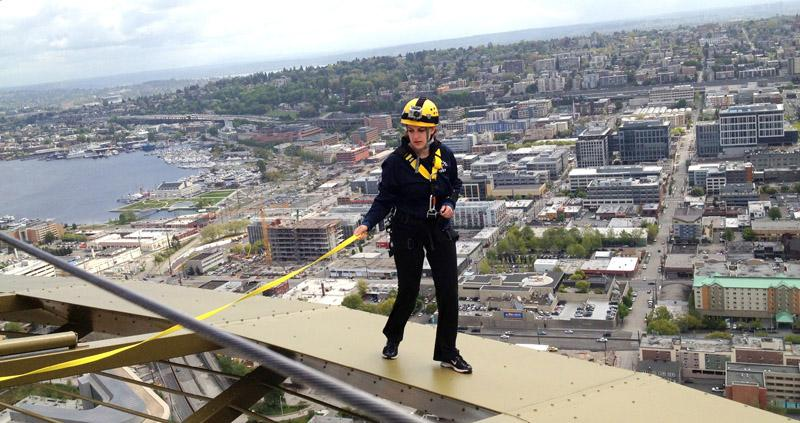 Runner-up contestant Sara Cook moves on to the next question atop the Seattle Space Needle during the final phase of the Needle's Space Race 2012.