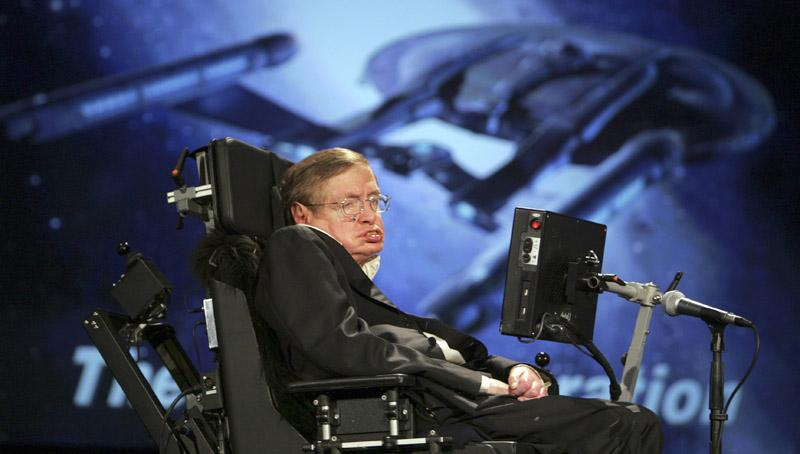 Professor Stephen Hawking shown in 2008 at George Washington University in Washington.