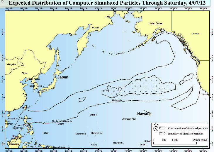 National Oceanic and Atmospheric Administration's model for where the Japanese tsunami debris is located.