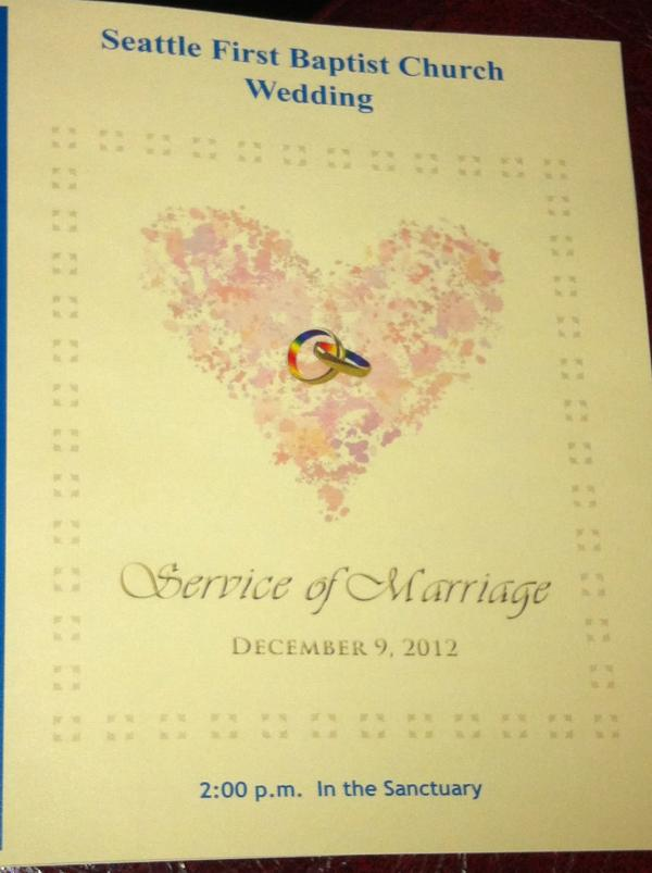 The program pamphlet for the same sex wedding ceremony at Seattle First Baptist Church