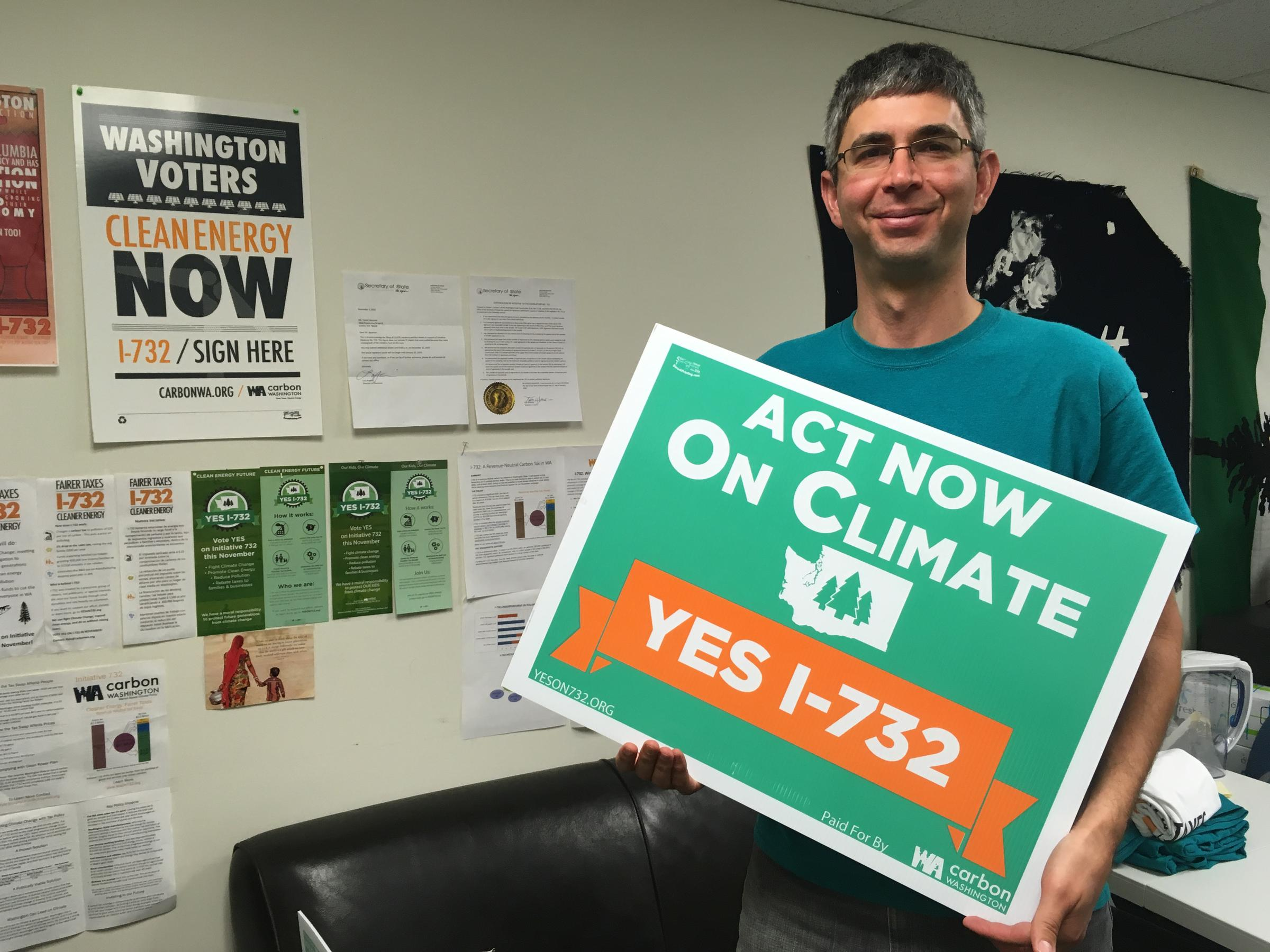 Yoram Bauman, sponsor of the carbon tax swap initiative, I-732, at the  campaign's headquarters in Seattle's Wallingford neighborhood.