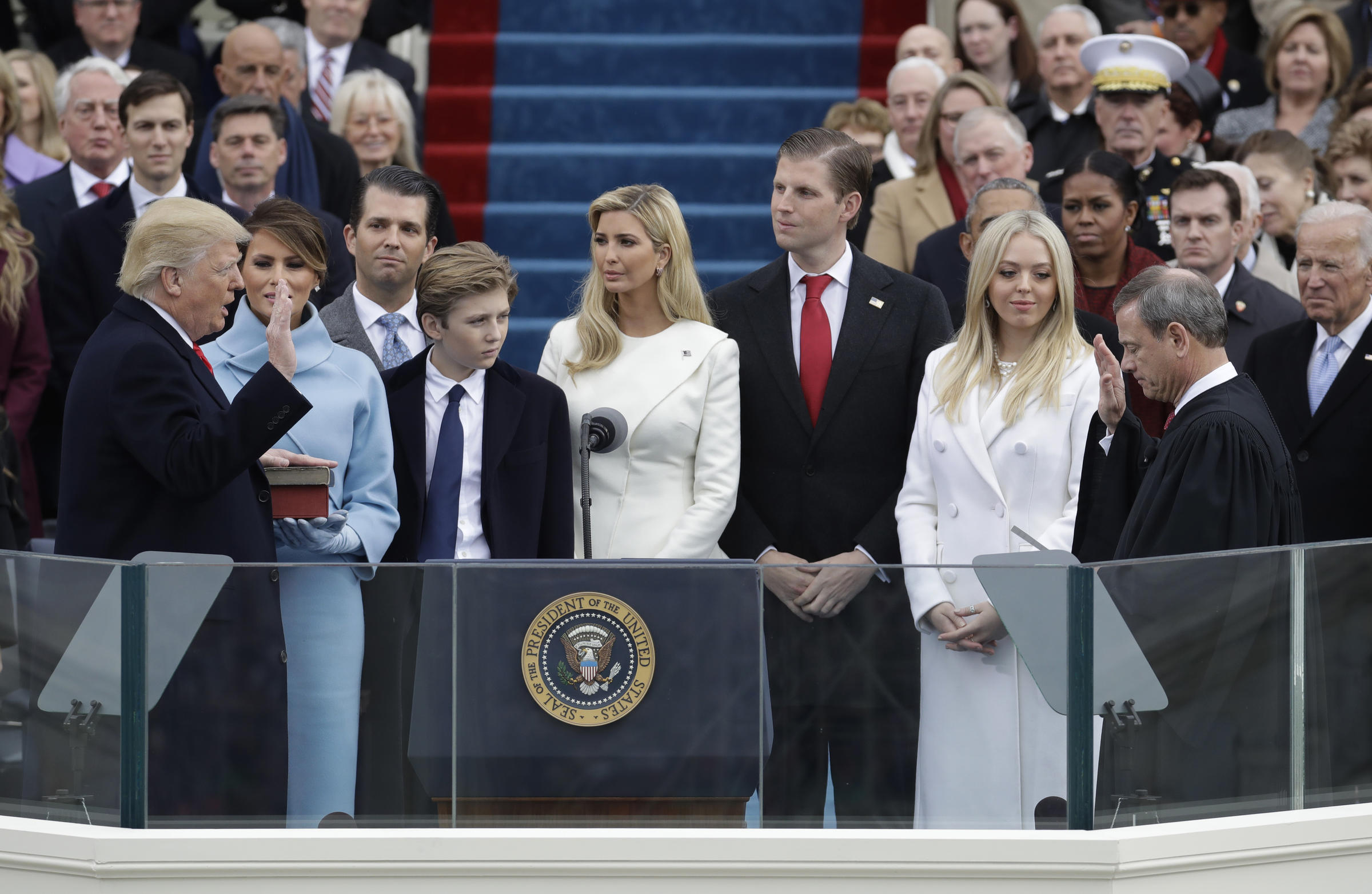 Donald Trump is sworn in as the 45th president of the United States by  Chief Justice. View Slideshow 2 of 8