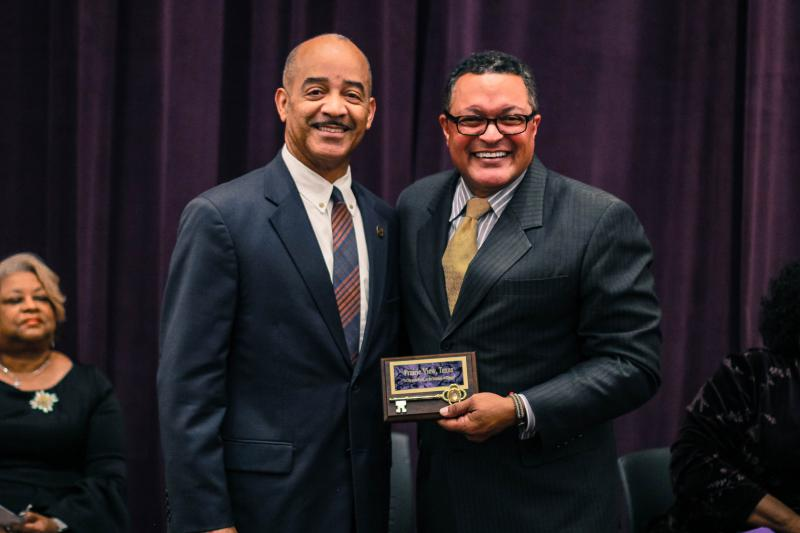 The Honorable David Allen, Mayor of Prairie View presents the key to the city to Mr. Kenneth B. Morris Jr., president of the Frederick Douglass Family Initiatives (FDFI)