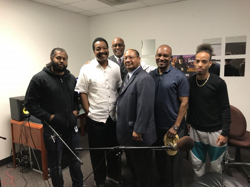 Pictured from Left: - KPVU Program Director Marquis Lofton - Captain Matthews, NROTC Class of '71  - Commander Dean, NROTC Class of '72 - Lieutenant Glass, NROTC Class of  '73 - Lieutenant Patrick, NROTC Class of '76 -KPVU Student intern Anthony Ossario