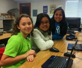 From left,  Laila Elkeshen, 11; Angeli Aquino, 10; and Mitzi Caldera, 11 are prize-winning inventors.