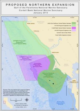 This map shows both the existing areas for the two marine sanctuaries, as well as the boundaries of their proposed expansions.