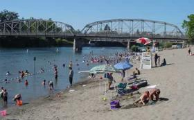 At Healdsburg Memorial Beach, swimmers are urged to swim only when lifeguards are on duty from 10:00 a.m. to 7:45 p.m. The swim area closes Labor Day Weekend.