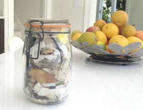 A full year's garbage from Bea Johnson's household fits into a single quart jar.