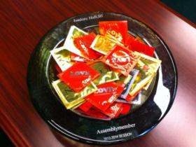 A bowl of condoms Assemblyman Isadore Hall keeps in his office in Sacramento.