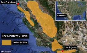 "This map shows the areas where the deep rock ""Monterey Shale""  formation is being eyed for potential hydraulic fracturing wellsites."
