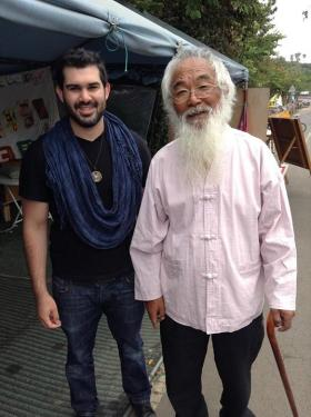 Nicholas Sismil, pictured with Korean activist and Catholic priest, Father Mun. Mun also appears in The Ghosts of Jeju film,
