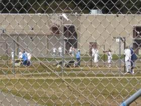 Inmates at Pelican Bay State Prison on the general population yard.