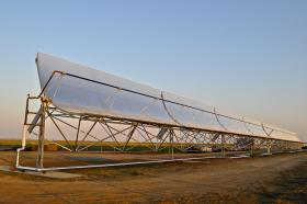 Heating salty water in this solar thermal array creates steam that sheds impurities and yield newly distilled clean water.