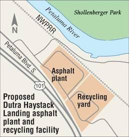 This map, showing the location of the planned new Dutra asphalt plant, also indicates why lovers of Shollenberg Park,just across the river, are so strongly opposed to the development.