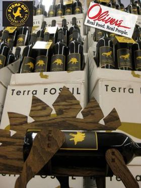 Terra Fossil wines displayed for sale at Oliver's Market