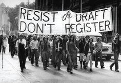 Draft resisters marching in the 1960s.