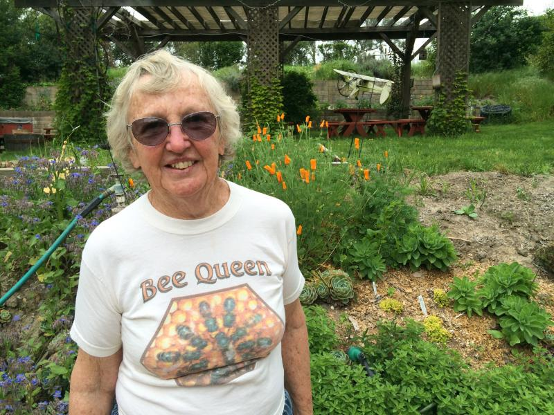 Ettamarie Peterson has kept bees for more than 20 years. She plants her garden to support bees.