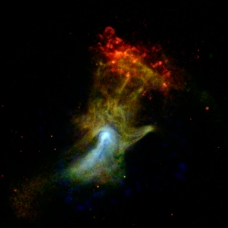"The remnant of an exploded star that resembles a hand, as viewed by NuSTAR (blue, higher energy X-rays) and Chandra (green and red, lower-energy X-rays). This image is nicknamed the ""Hand of God"""