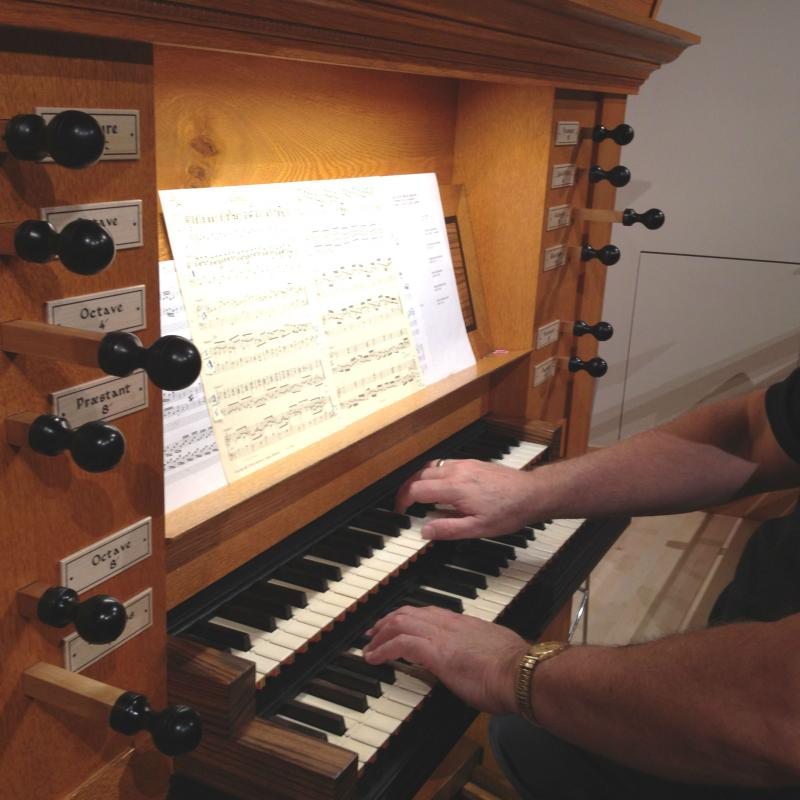 The modest organ features two keyboard manuals, and just 20 stops.