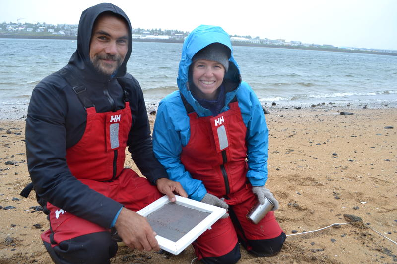 Five Gyres co-founder Marcus Eriksen and Carolynn Box carrying out beach research on microplastics in Iceland.