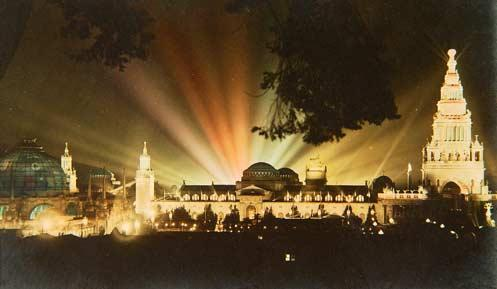 A dramatic nightly light show was one of the signature aspects of the 1915 Worlds Fair
