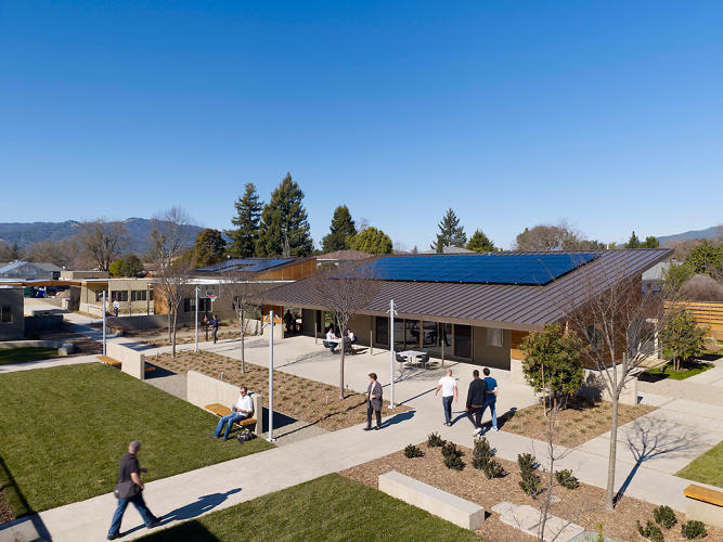 An open design and sustainable construction methods and materials characterize the commons inside the Sweetwater Spectrum compound