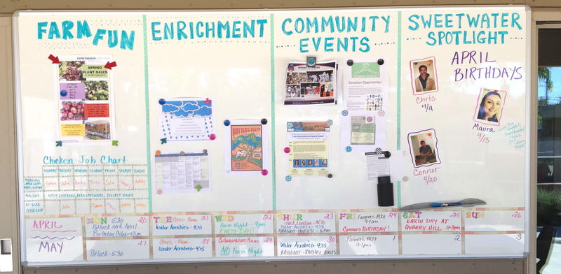 Activities, tasks and messages are posted daily outside Sweetwater's community center building