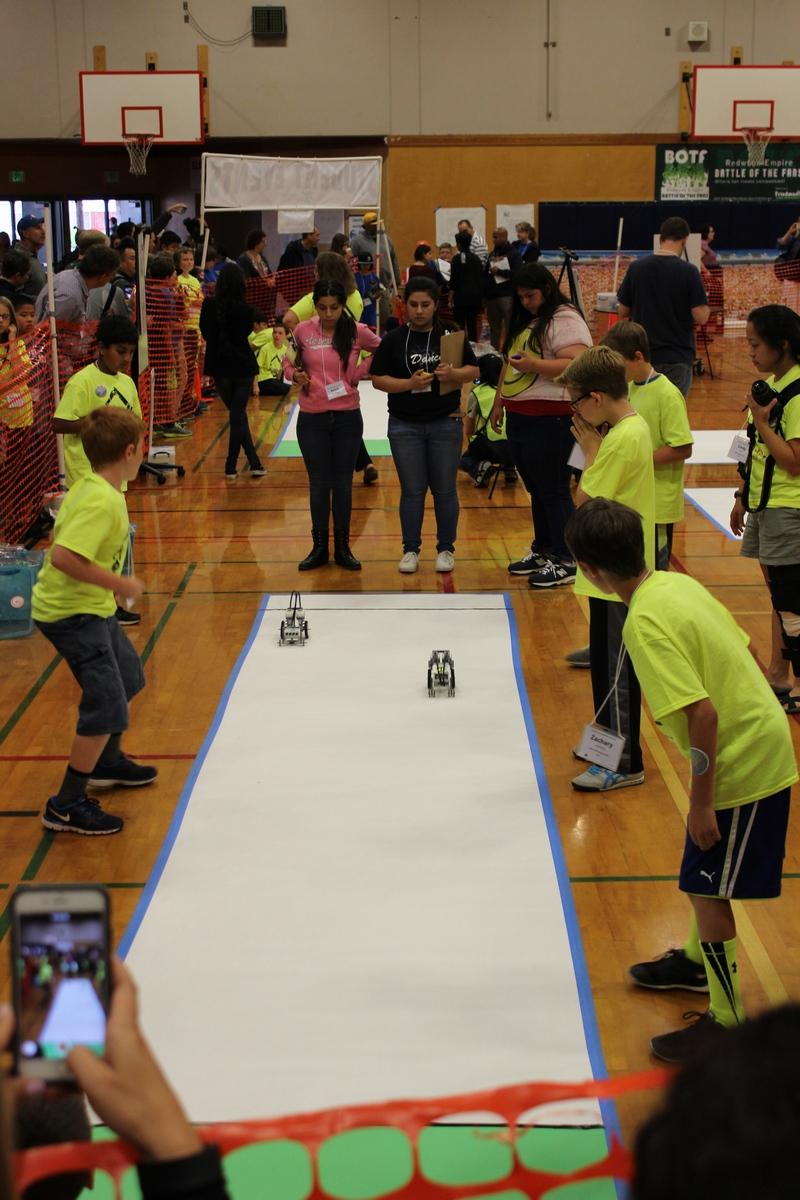 Beginner robot builders compete in the drag racing event at the the Sonoma County Robotics Challenge.