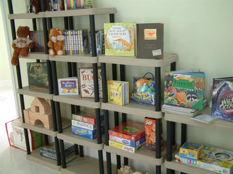 Books and toys in the newly remodeled COTS family center