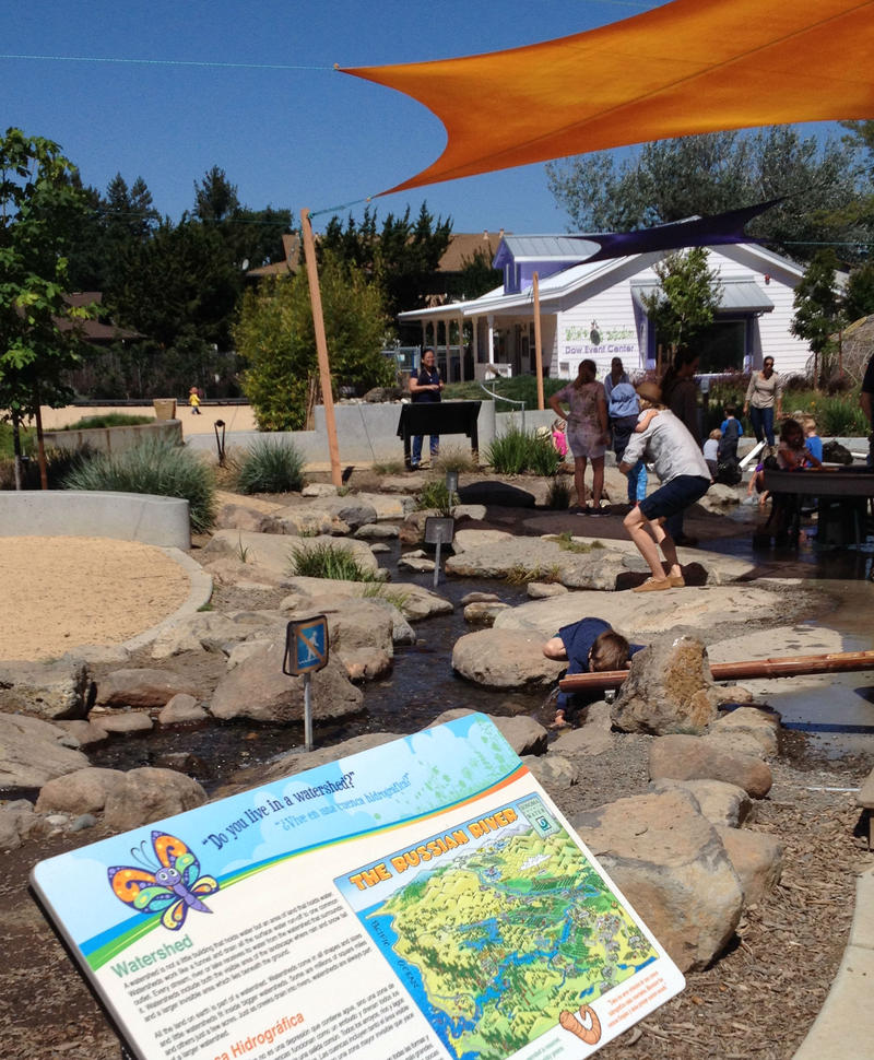 The outdoor garden area includes a model watershed loosly modeled on the Russian River.