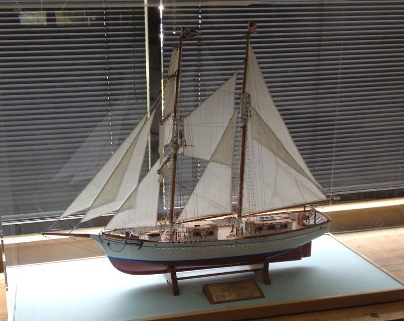 A model of the Galilee, on which the Matthew Turner's specifications have been based, stands in the offices of the Educationa Tall Ship  non-profit, adjacent to the ship's construction site.